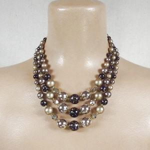 VINTAGE 50s Multi Strand Beaded Necklace JAPAN